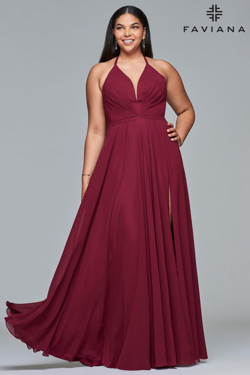 Style 9397 Faviana Red Size 14 Corset Tall Height Wedding Guest Straight Dress on Queenly