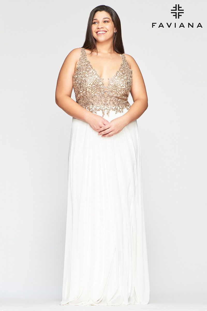 Style 9428 Faviana Gold Size 20 Pageant Halter Tall Height Straight Dress on Queenly