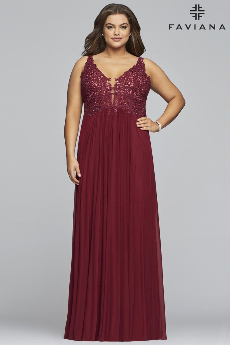 Style 9428 Faviana Red Size 22 Pageant Halter Tall Height Straight Dress on Queenly