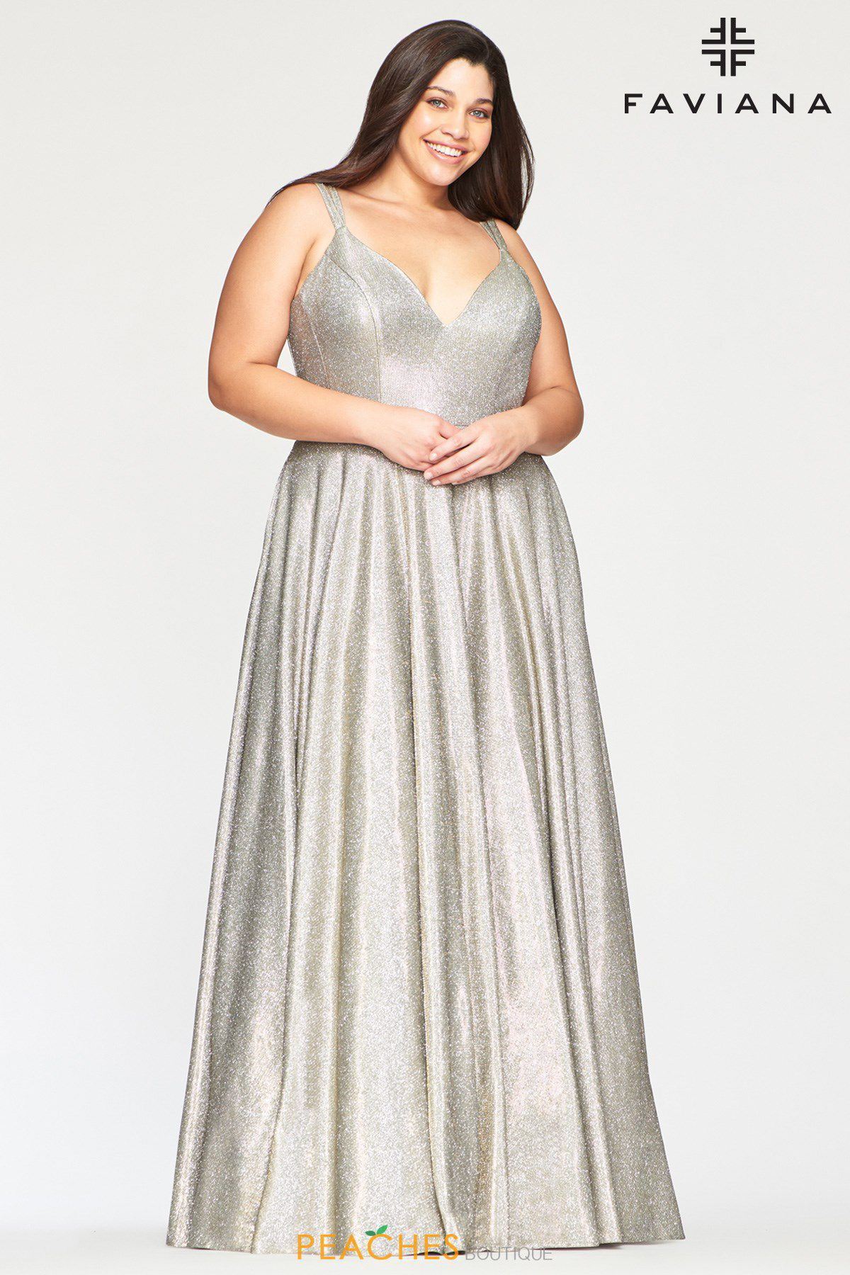 Style 9493 Faviana Silver Size 24 Prom Pageant Halter Tall Height A-line Dress on Queenly