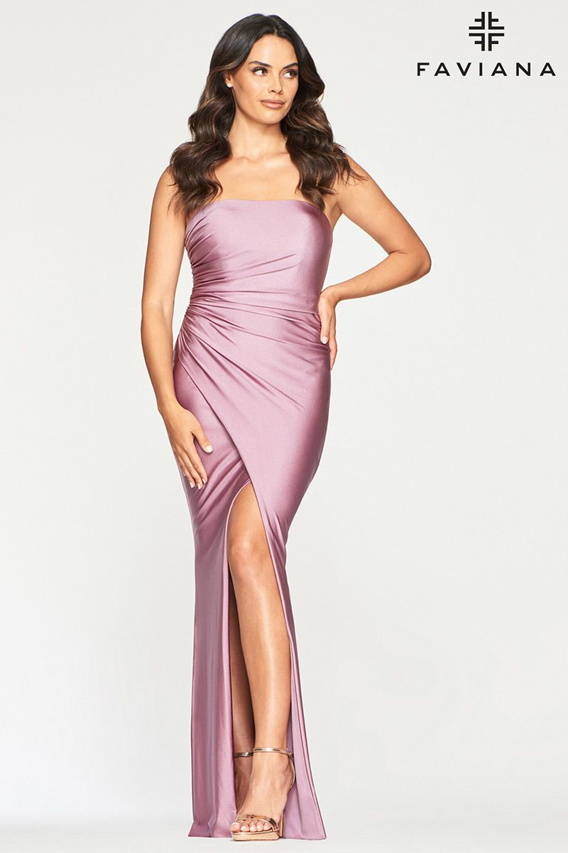 Style S10382 Faviana Purple Size 8 Tall Height Wedding Guest Side slit Dress on Queenly