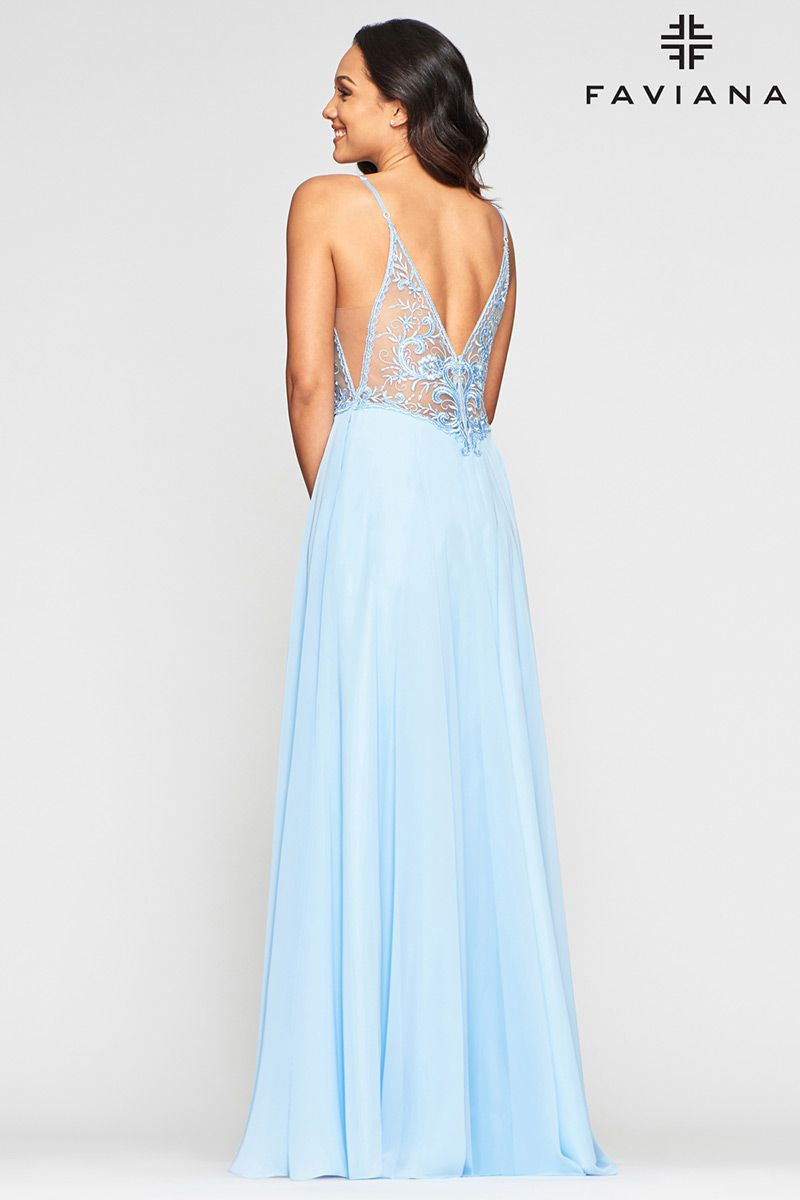 Style S10431 Faviana Blue Size 6 Sheer Tall Height Wedding Guest Side slit Dress on Queenly