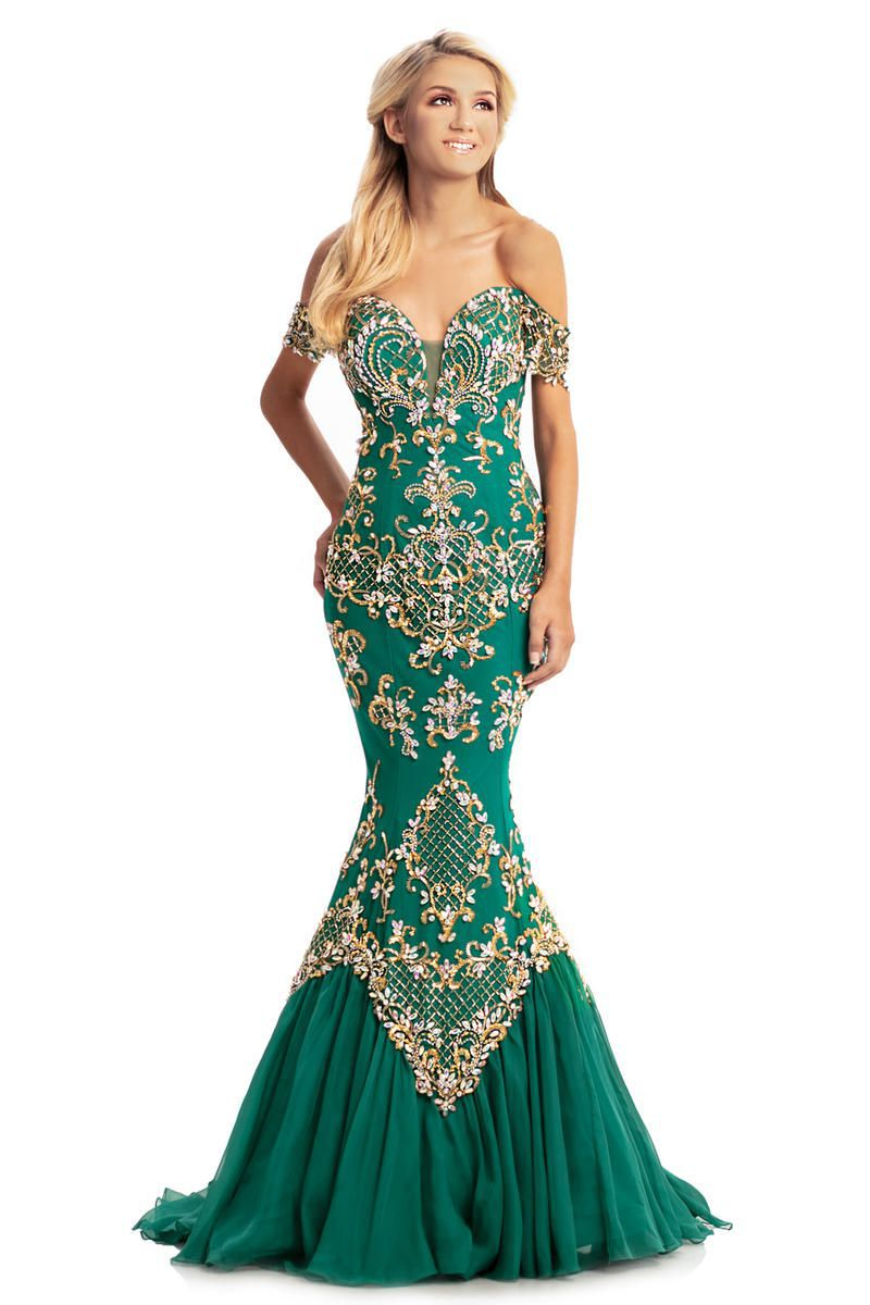 Style 8211 Johnathan Kayne Green Size 12 Pageant Tall Height Mermaid Dress on Queenly