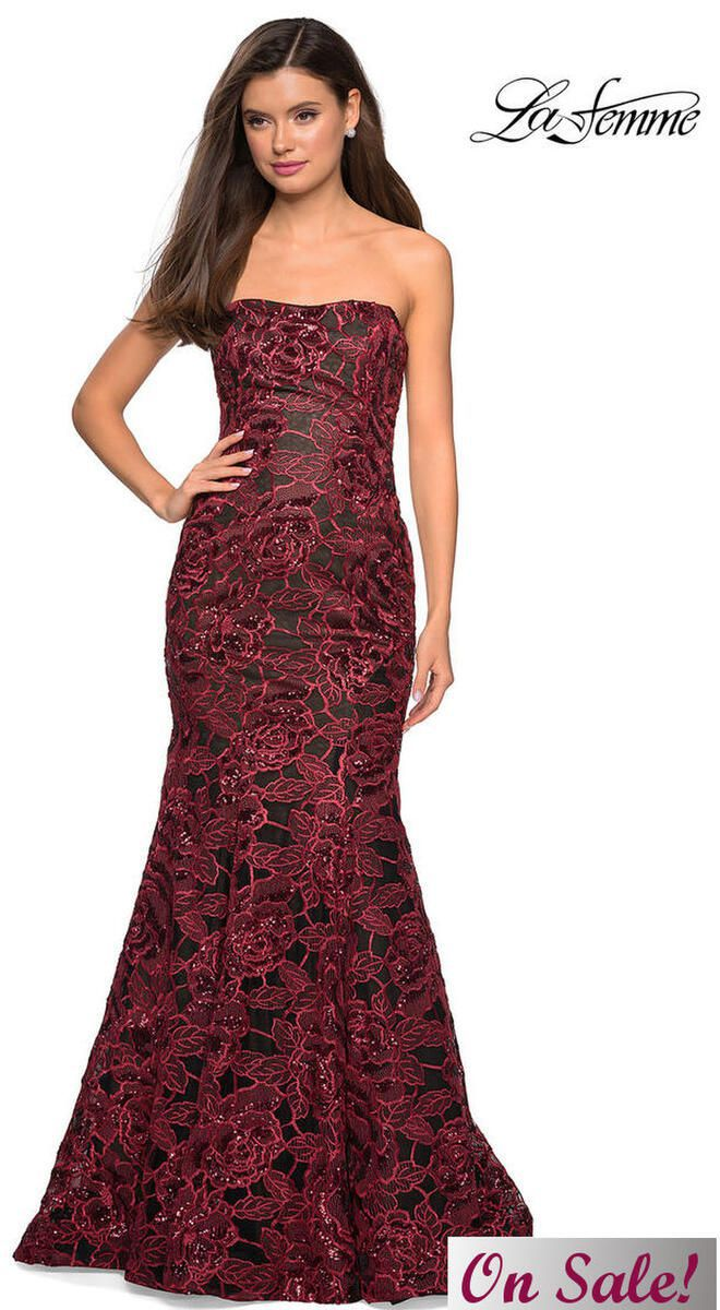 Style 27178 La Femme Red Size 8 Prom Tall Height Mermaid Dress on Queenly