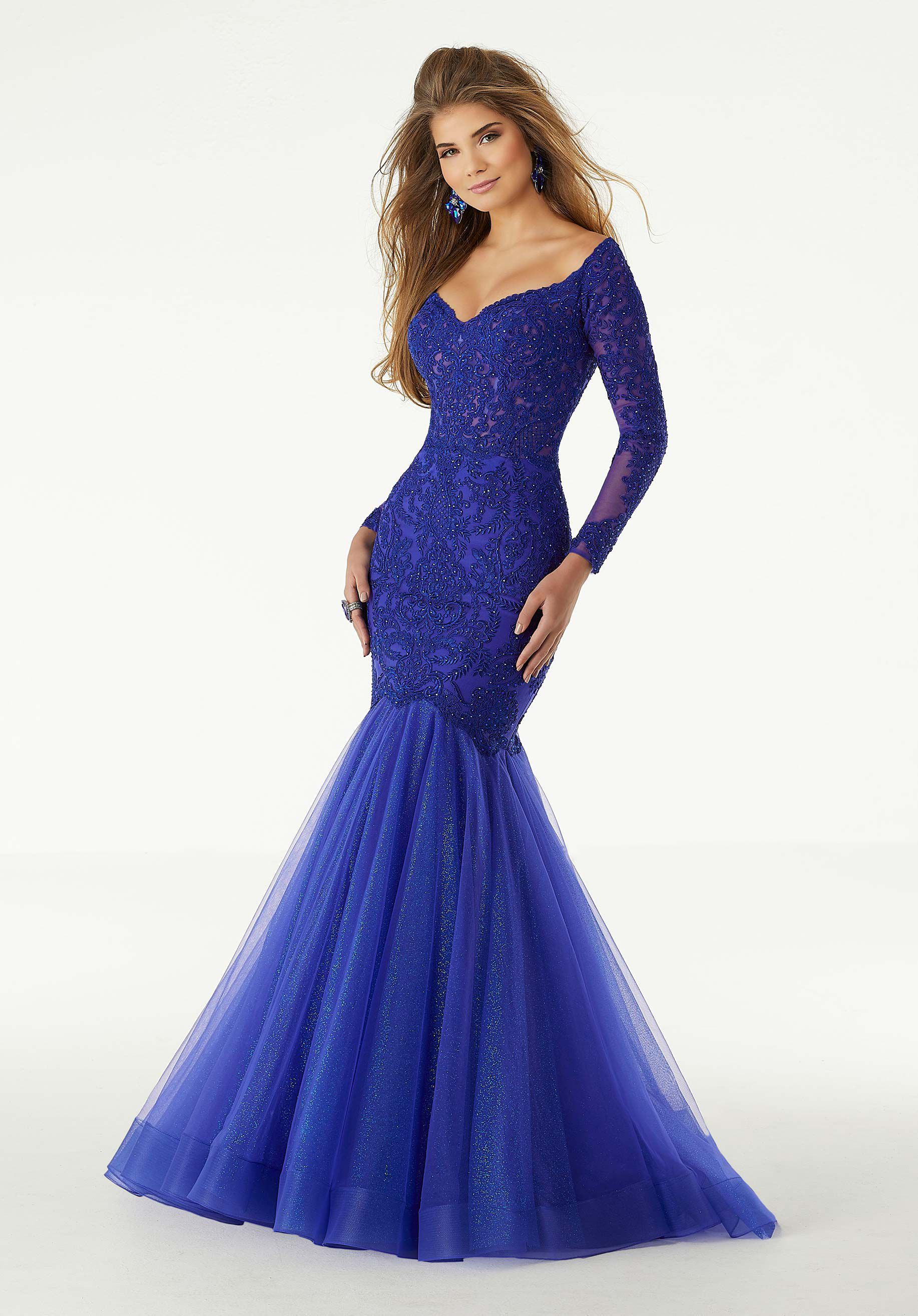 Style 43060 Mori Lee Blue Size 10 Long Sleeve Pageant Tall Height Mermaid Dress on Queenly