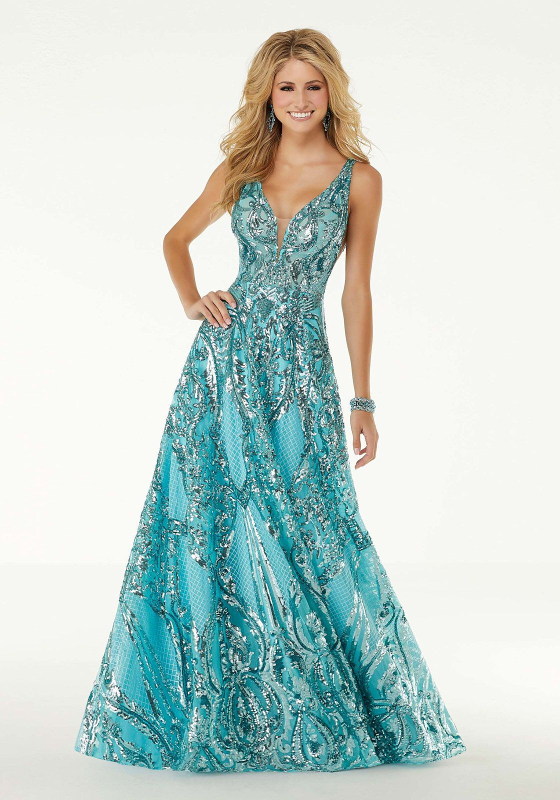 Style 45001 Mori Lee Blue Size 6 Pageant Jewelled Backless Tall Height Mermaid Dress on Queenly