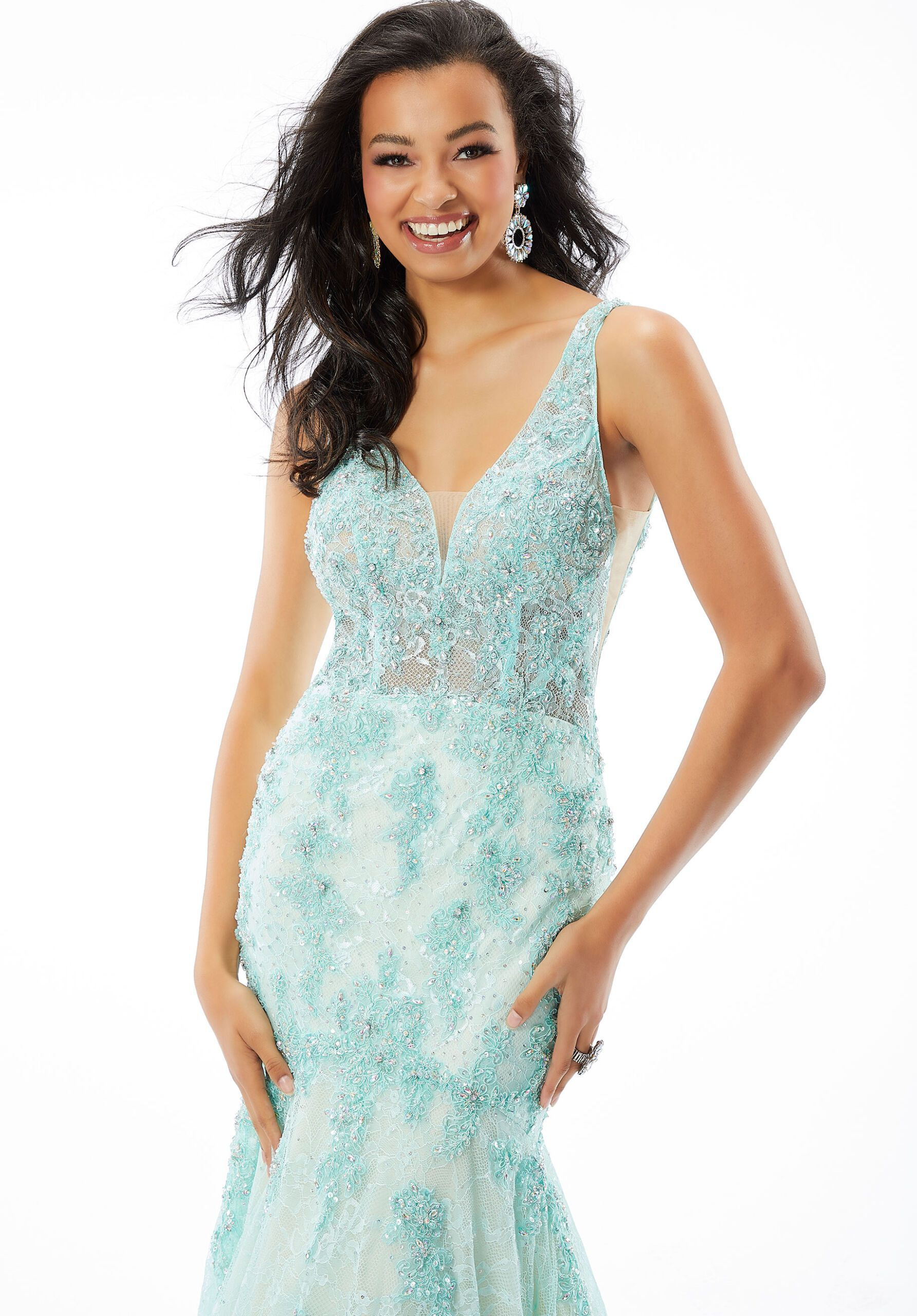 Style 46014 Mori Lee Blue Size 2 Pageant Tall Height Lace Mermaid Dress on Queenly