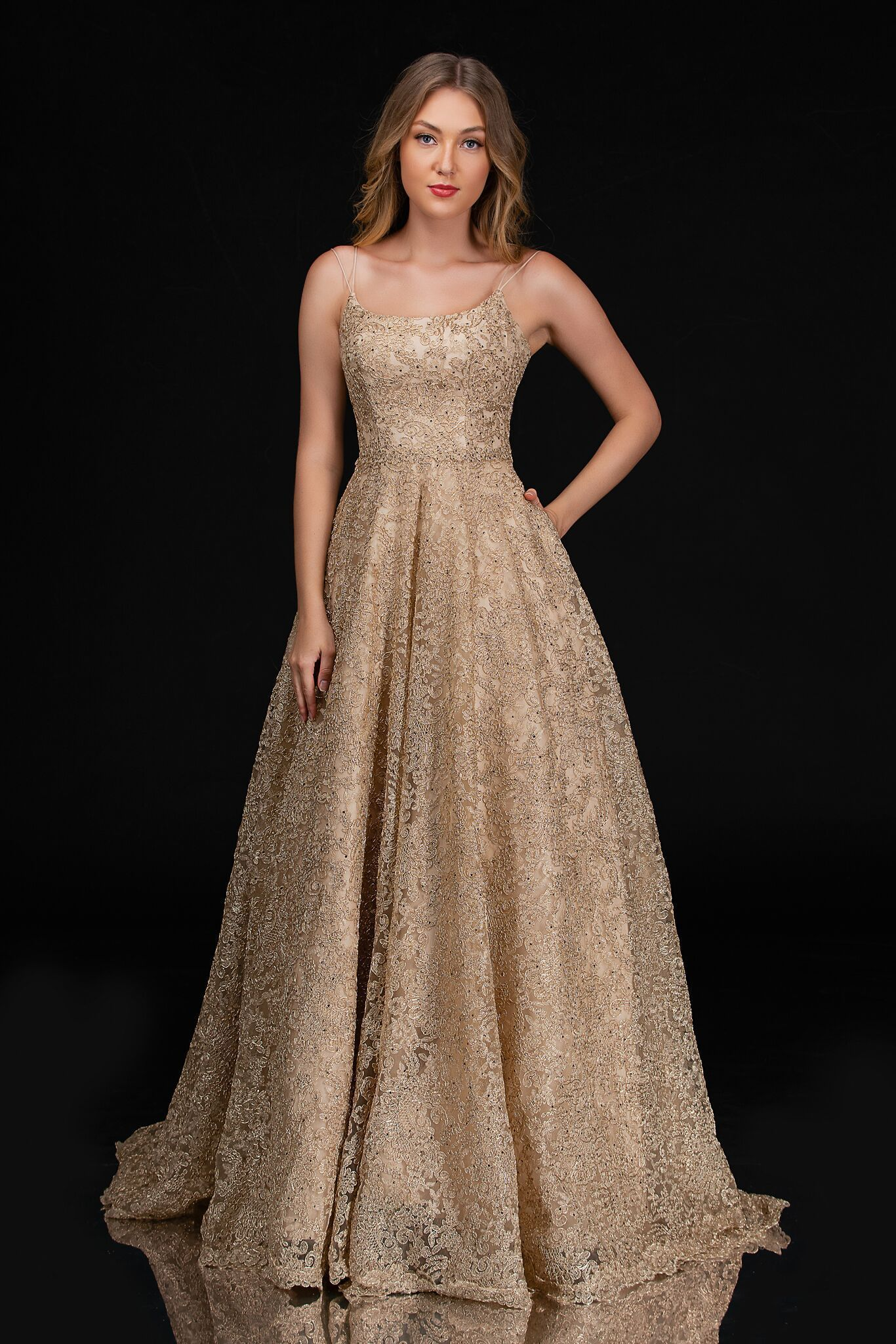 Style 5141 NINA CANACCI Gold Size 4 Prom Pageant Tall Height Ball gown on Queenly