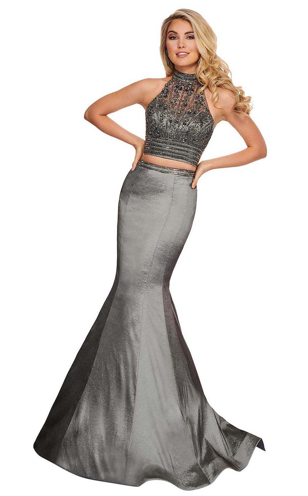 Style 6511 Rachel Allan Silver Size 4 Prom Pageant Halter Tall Height Mermaid Dress on Queenly