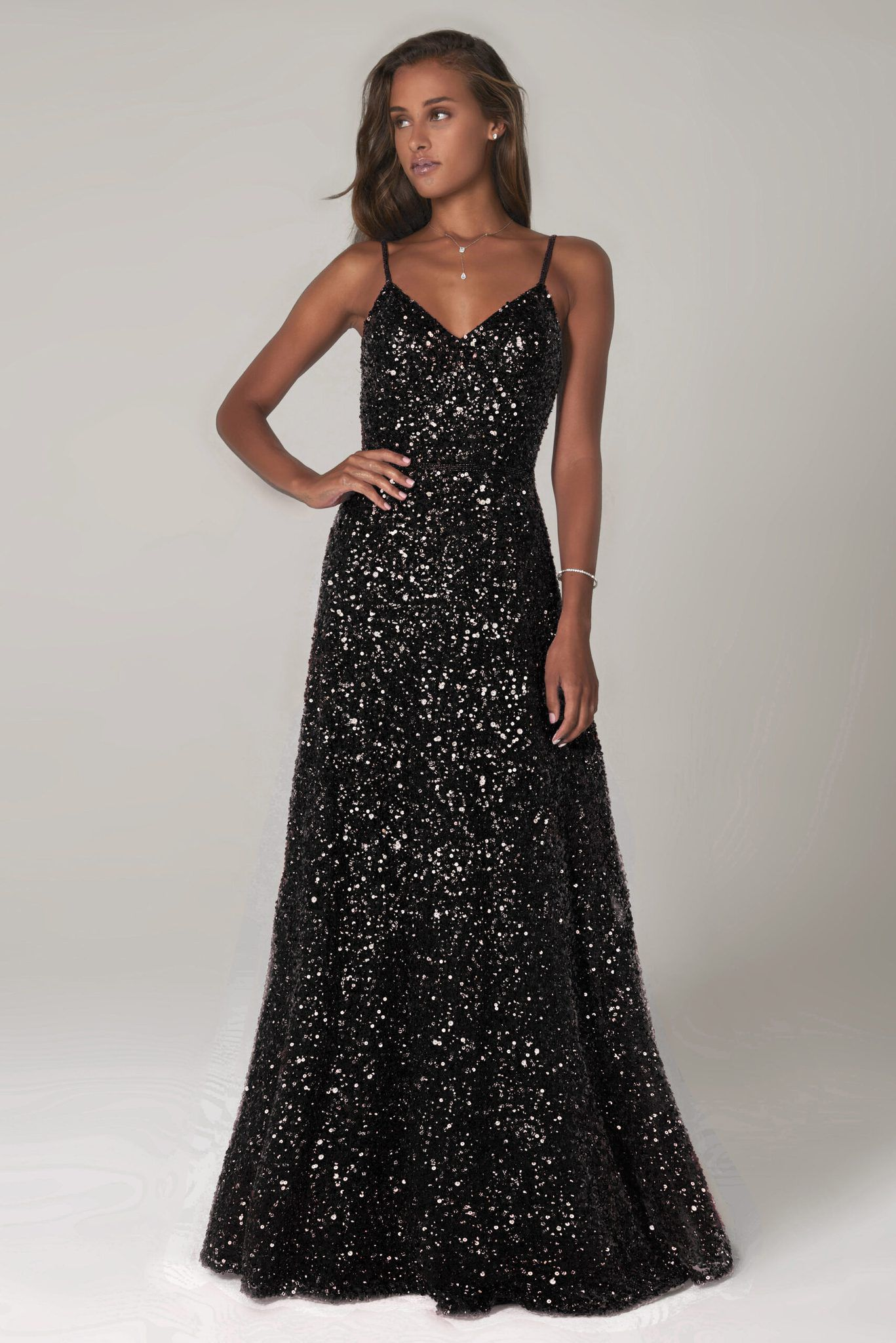Style 60109 Scala Black Size 8 Spaghetti Strap Tall Height A-line Dress on Queenly