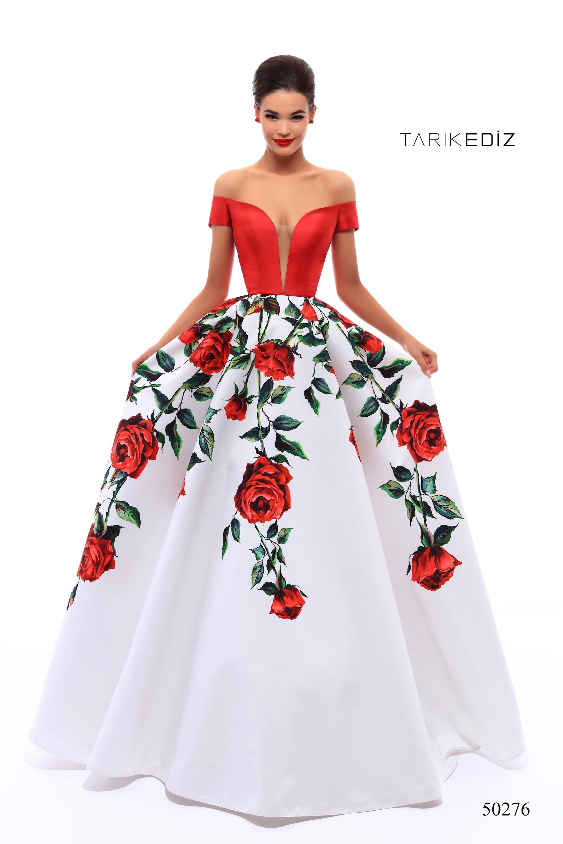 Style 50276 Tarik Ediz Red Size 4 Floral Quinceanera Tall Height Ball gown on Queenly