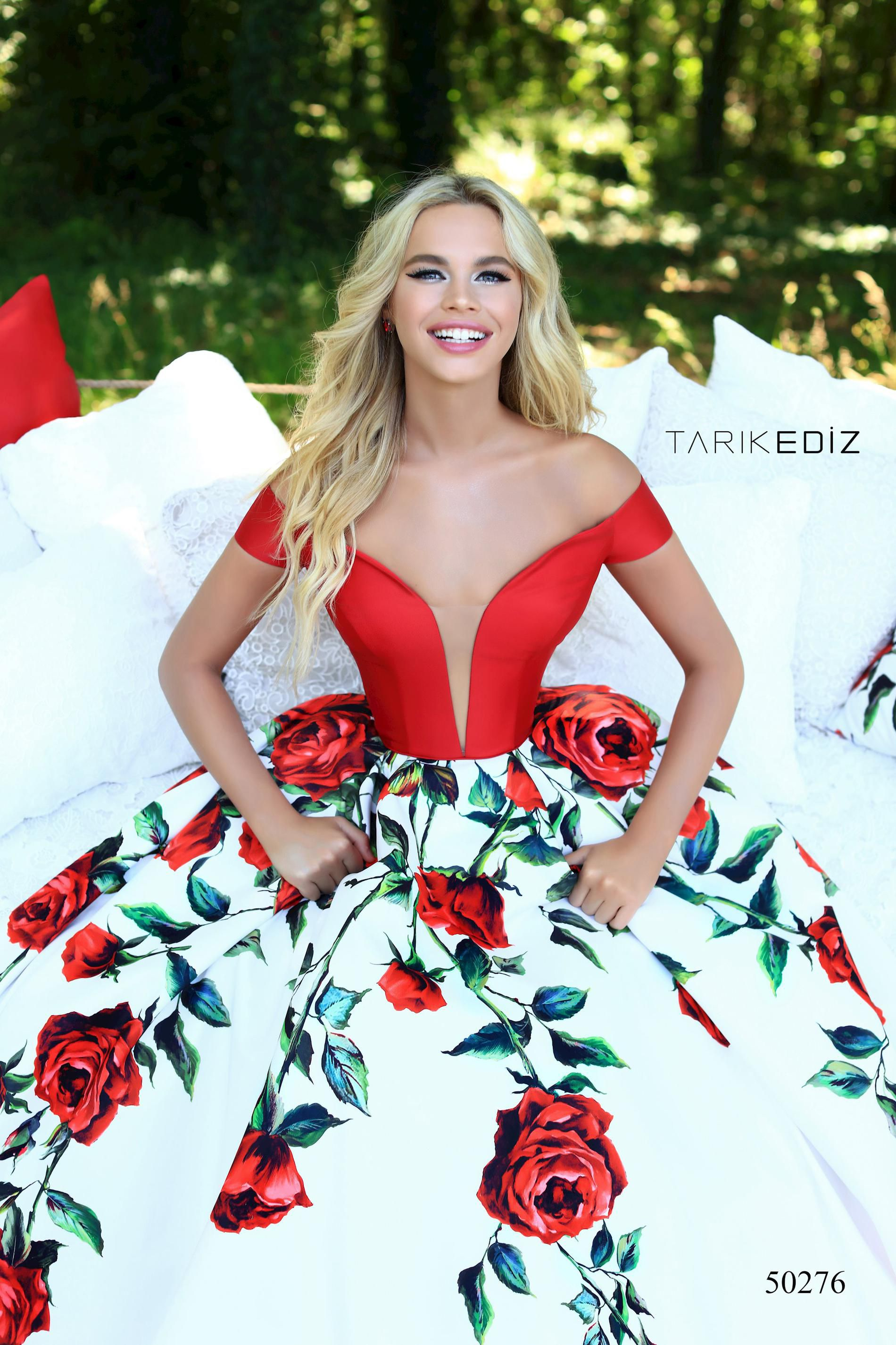Style 50276 Tarik Ediz Red Size 6 Floral Quinceanera Tall Height Ball gown on Queenly