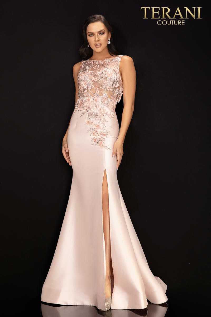 Style 2011P1467 Terani Couture Pink Size 6 Pageant Sheer Tall Height Side slit Dress on Queenly
