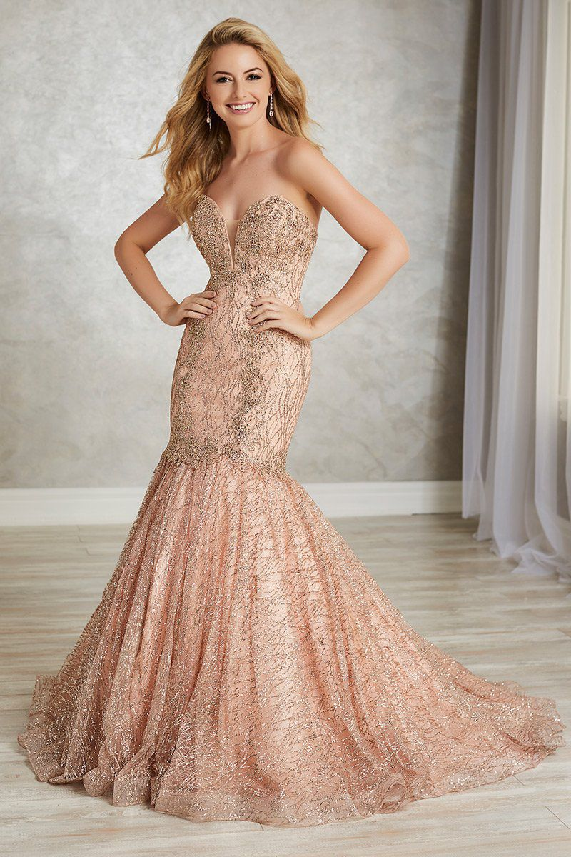 Style 16343 Tiffany Designs Pink Size 14 Train Tall Height Lace Mermaid Dress on Queenly