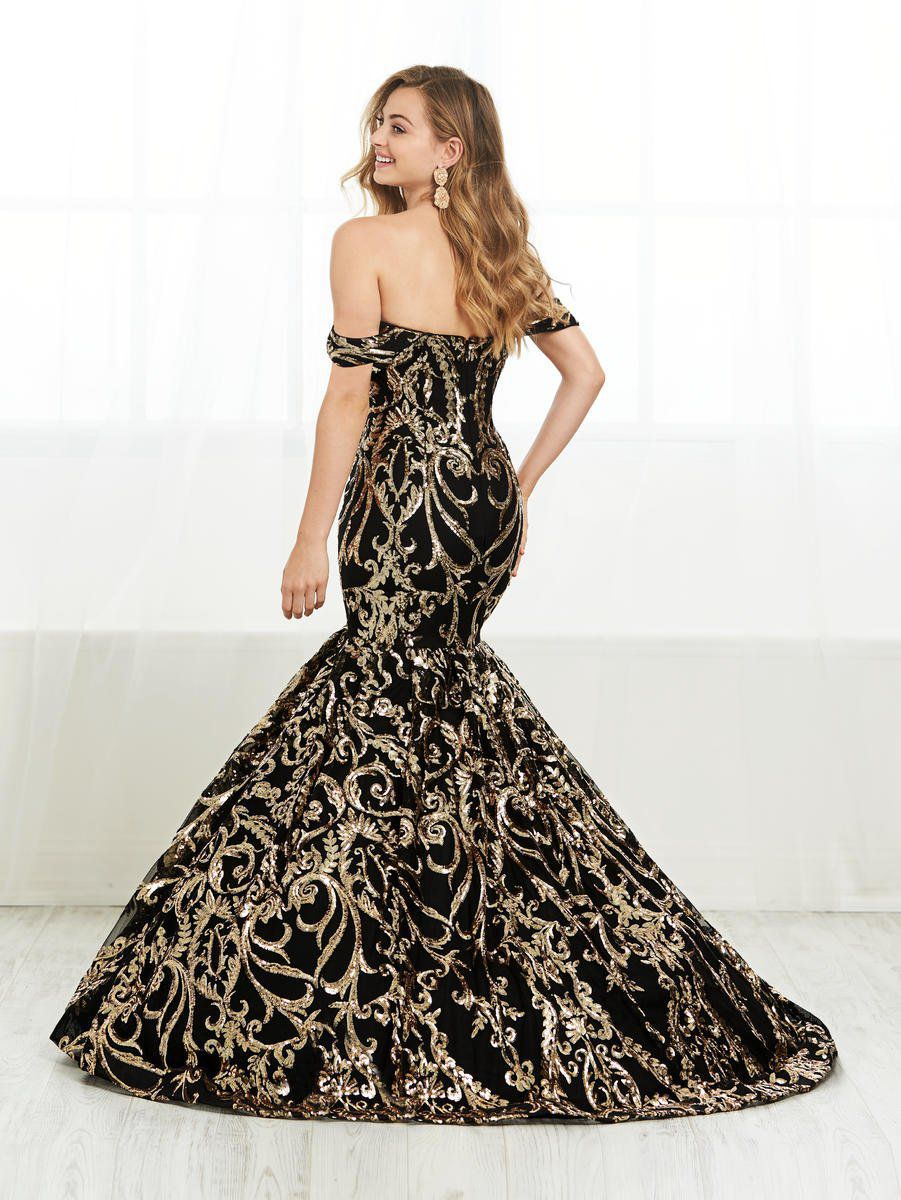 Style 16394 Tiffany Designs Black Size 8 Pageant Train Tall Height Fitted Mermaid Dress on Queenly