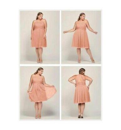 AlicePub Orange Size 16 Halter Mini Wedding Guest A-line Dress on Queenly