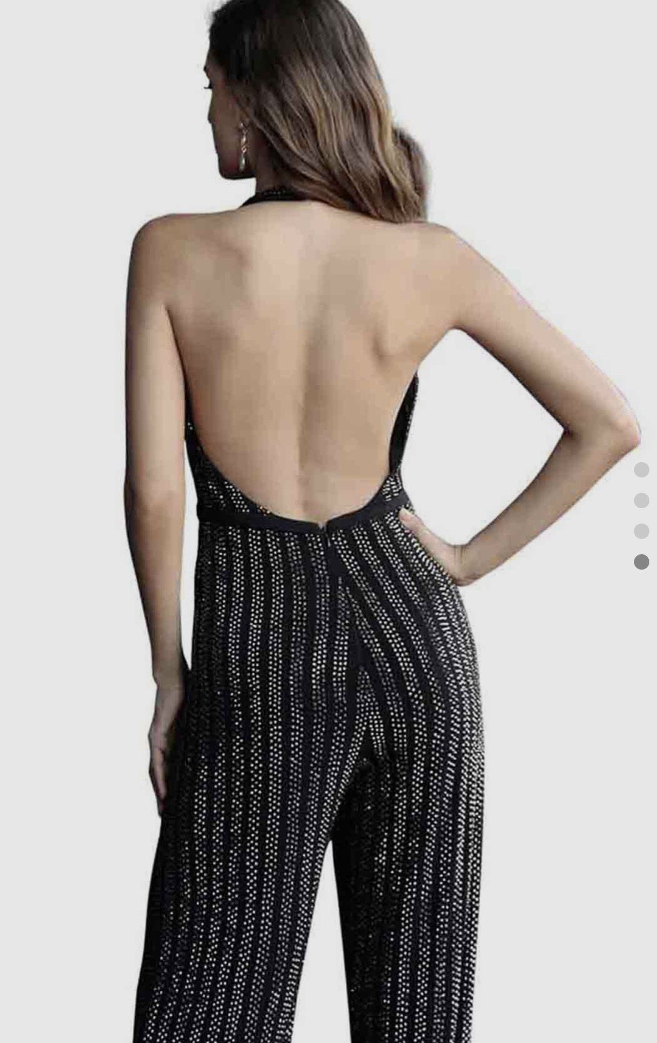 Jovani Black Size 4 Interview Backless Medium Height Jumpsuit Dress on Queenly