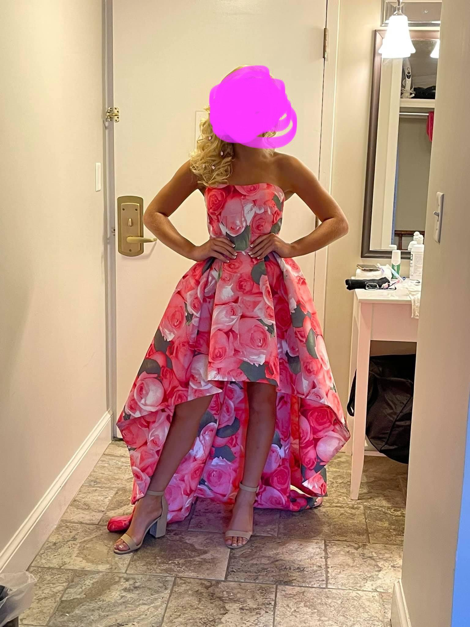 Sherri Hill Pink Size 2 Fun Fashion Floral Train Dress on Queenly