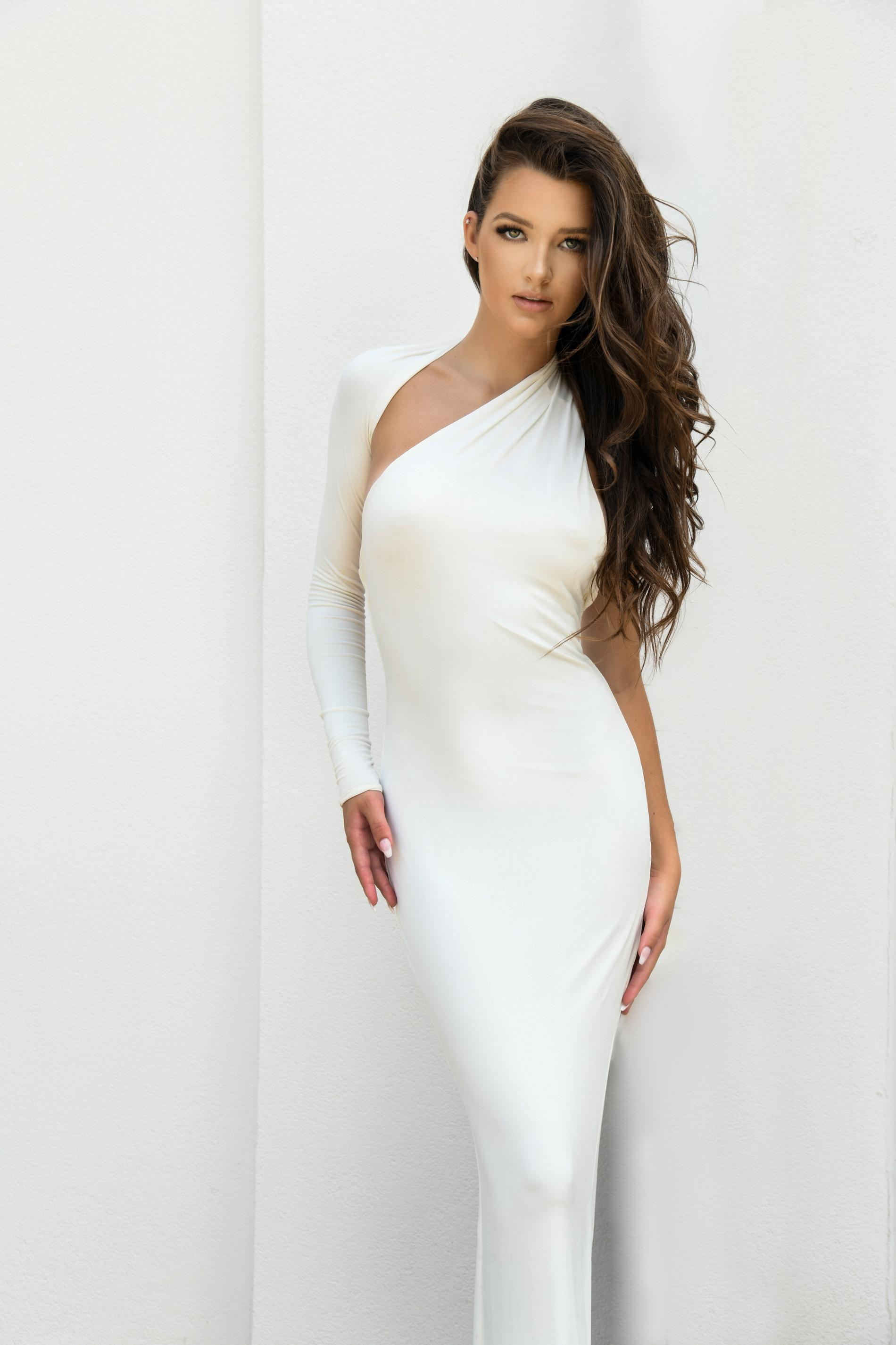 House of CB White Size 2 Long Sleeve Pageant One Shoulder Mermaid Dress on Queenly