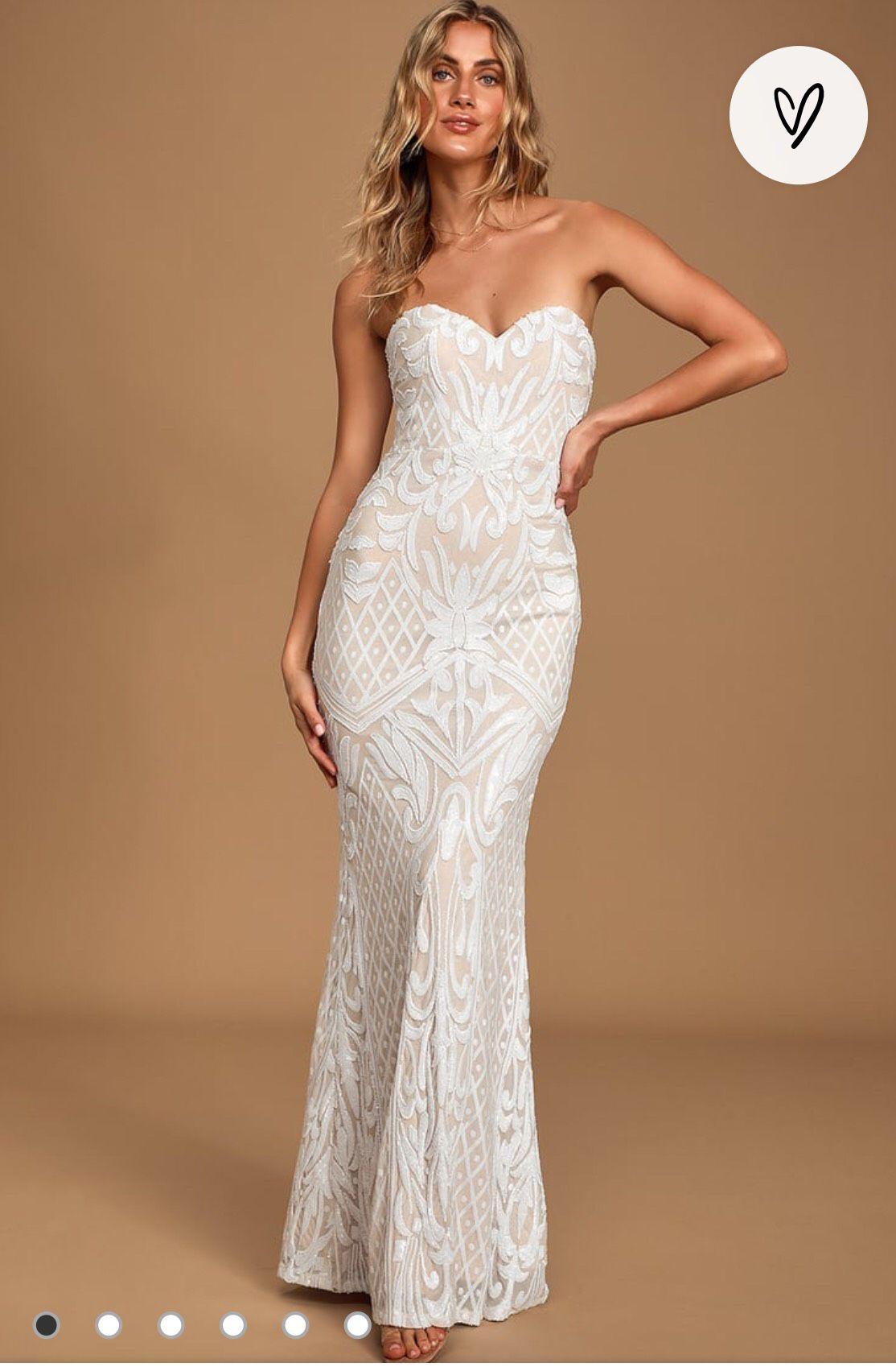 Lulu's Nude Size 14 Sweetheart Plus Size Mermaid Dress on Queenly