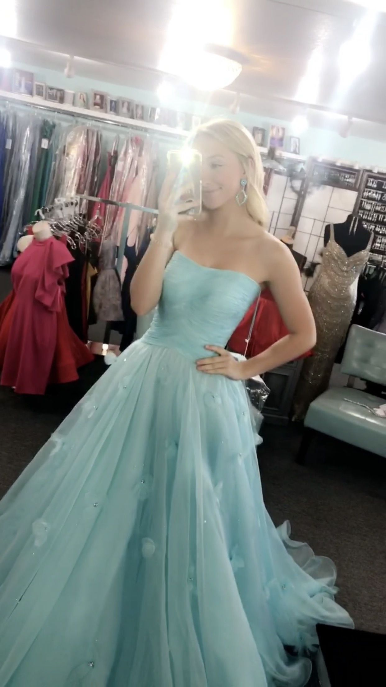 Sherri Hill Blue Size 2 Pageant Tulle Train Ball gown on Queenly