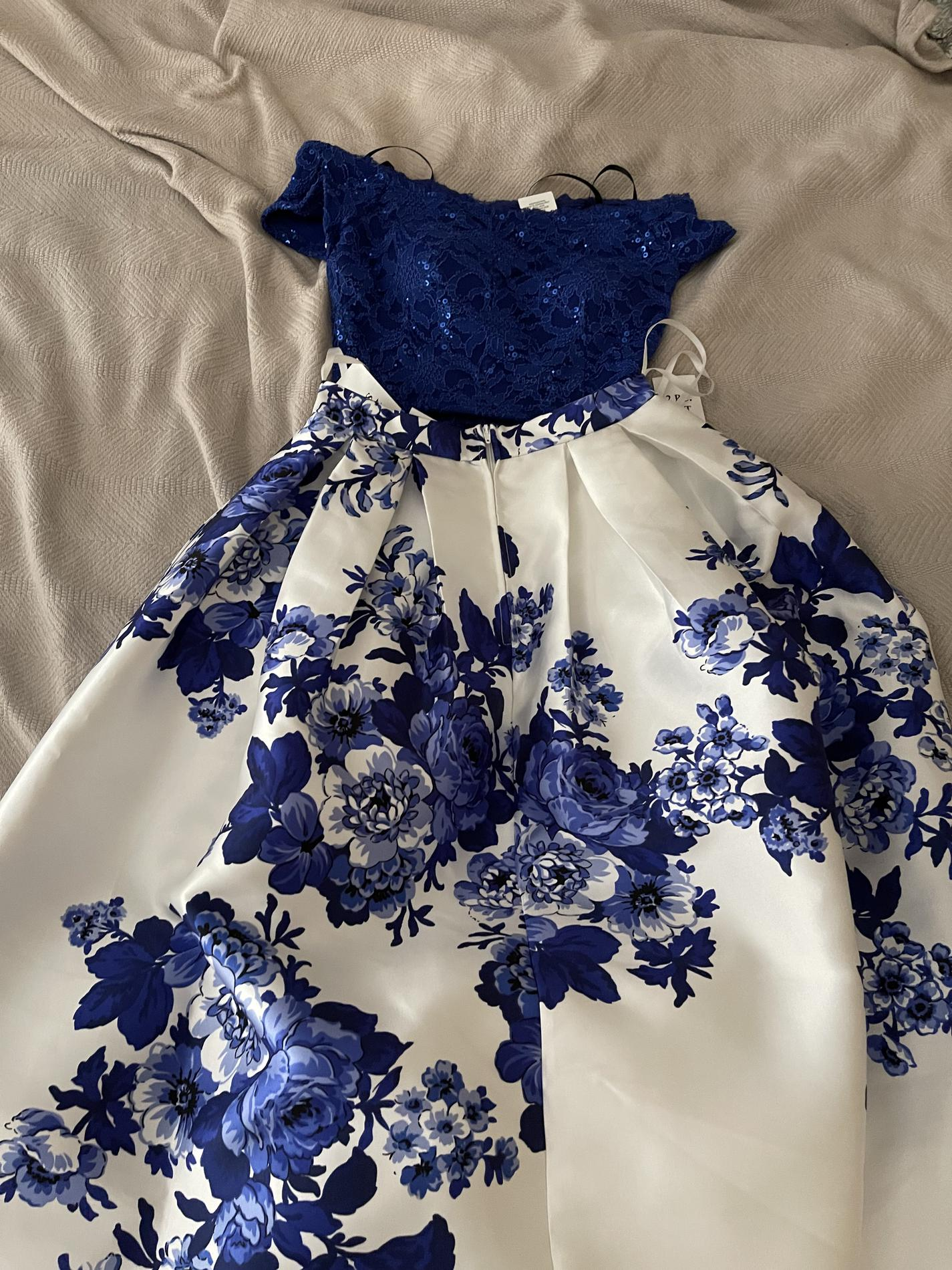 B. Darlin Blue Size 4 Floral Ball gown on Queenly