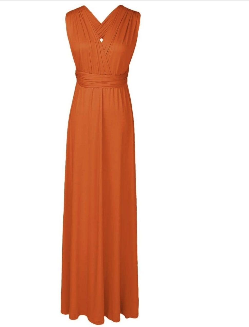 Style B073CGBPLG IWEMEK Orange Size 6 Sorority Formal Tall Height Wedding Guest Straight Dress on Queenly