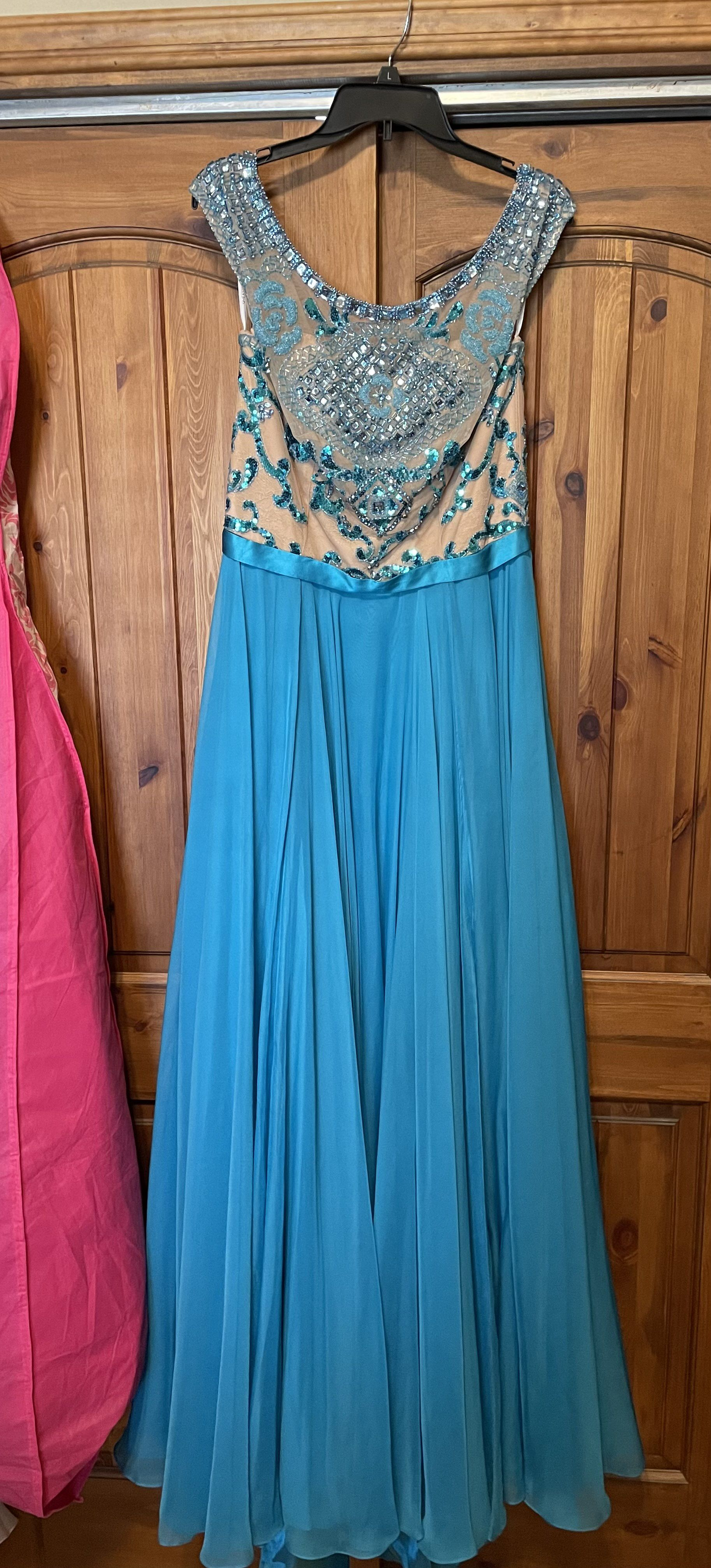 Sherri Hill Blue Size 14 Pageant Green Tall Height A-line Dress on Queenly