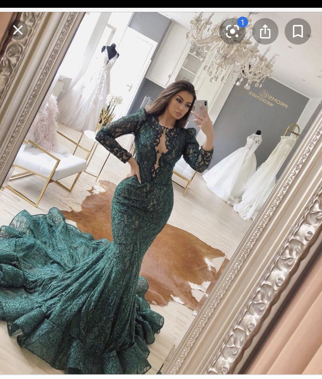 Tarik Ediz Green Size 12 Pageant Sleeves Train Mermaid Dress on Queenly