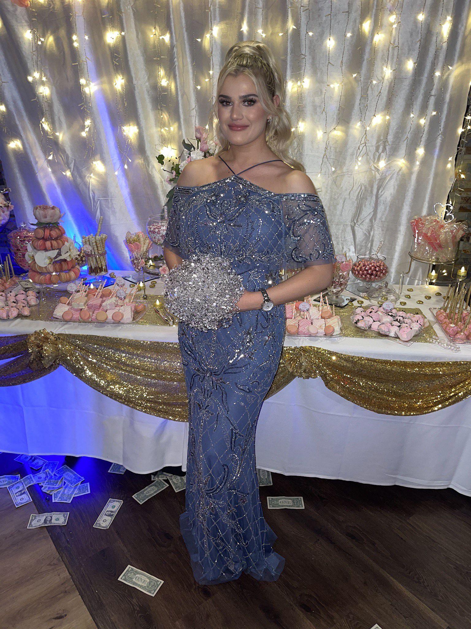 aidan mattox Light Blue Size 4 Wedding Guest A-line Dress on Queenly