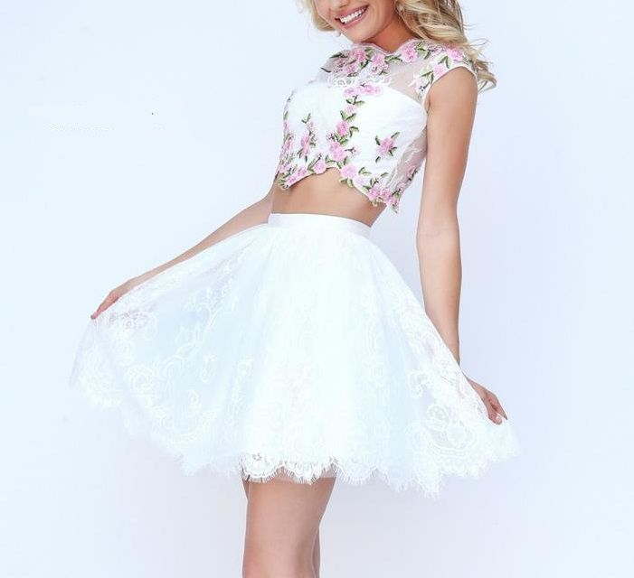 Style 50478 Sherri Hill White Size 4 Tall Height Lace Flare Prom Cocktail Dress on Queenly
