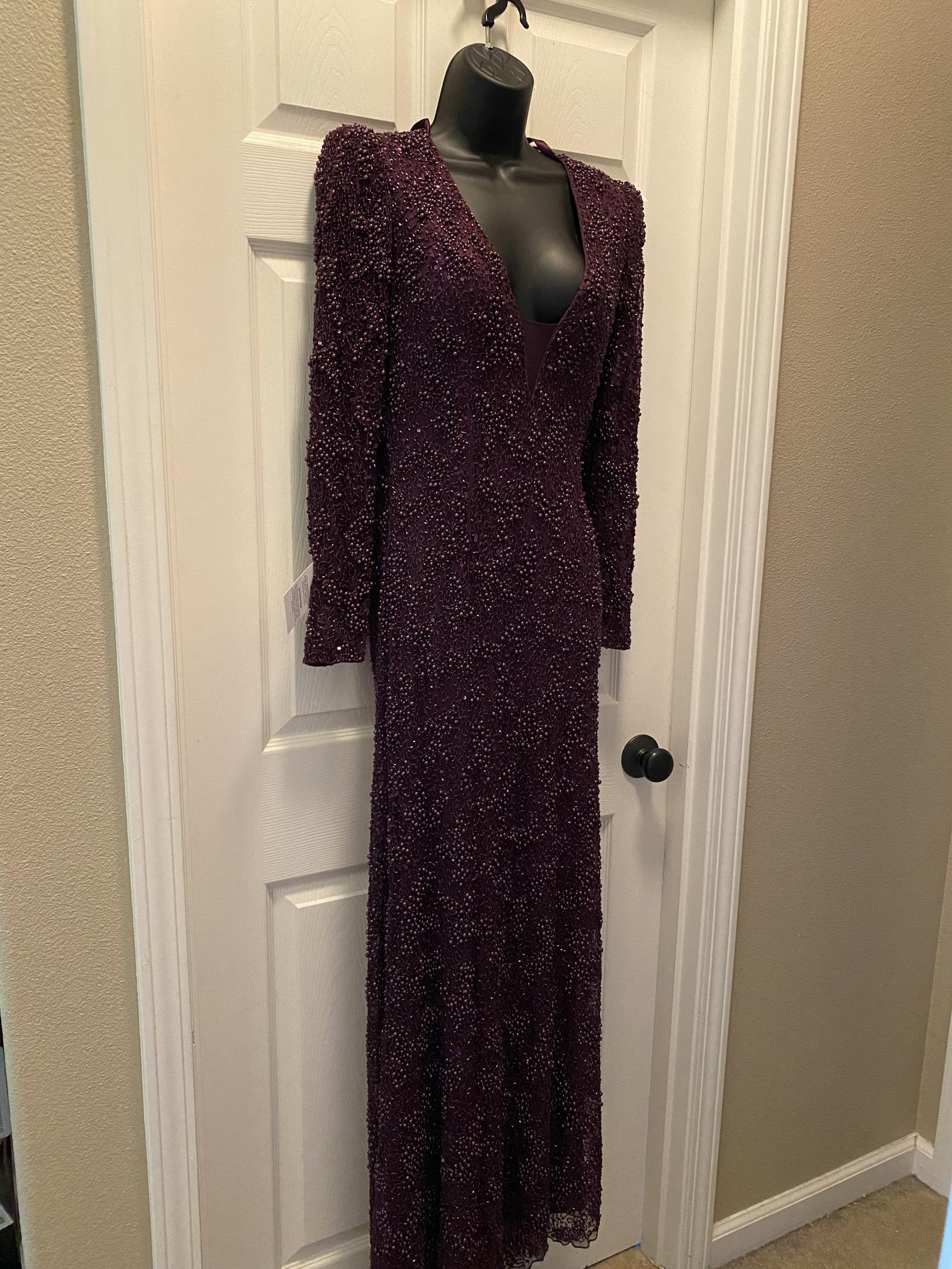 Mac Duggal Purple Size 2 Long Sleeve Pageant V Neck Straight Dress on Queenly