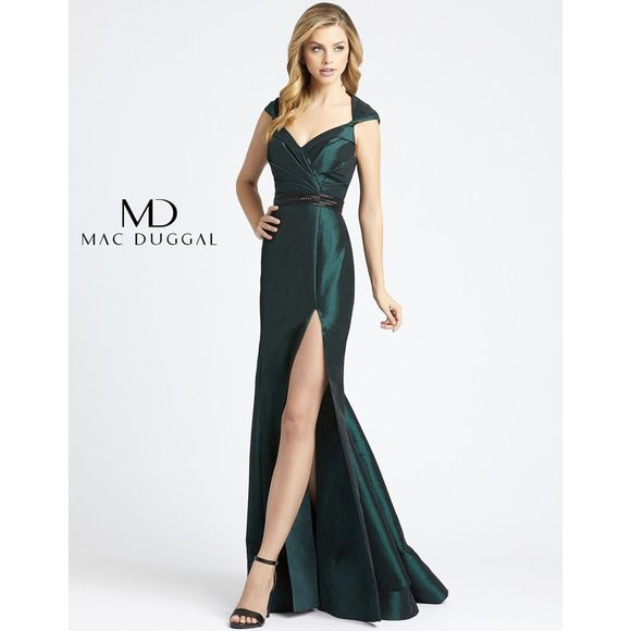 Style 12118L Mac Duggal Green Size 2 Tall Height Train Mermaid Dress on Queenly