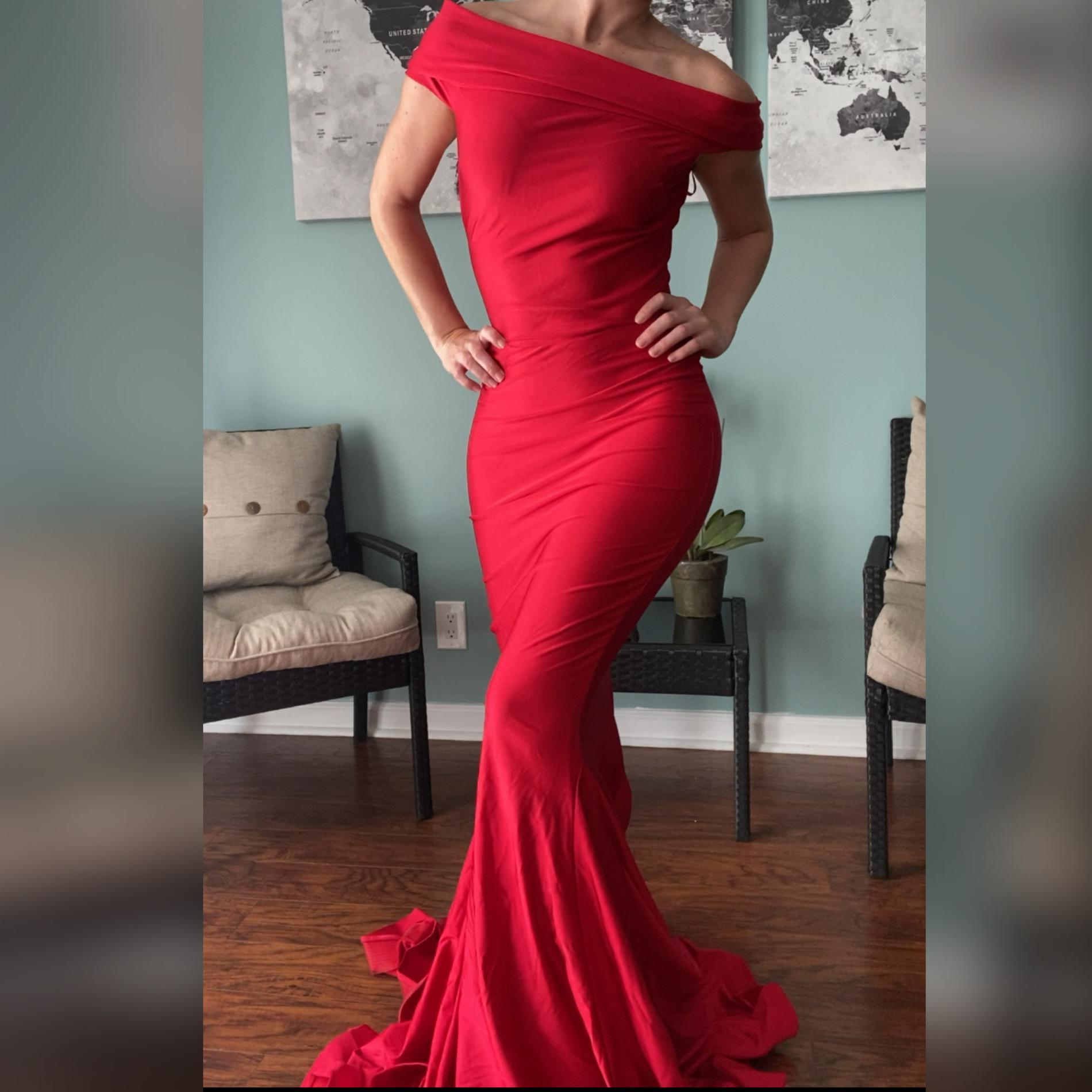 Jessica Angel Red Size 2 Pageant Jersey Mermaid Dress on Queenly