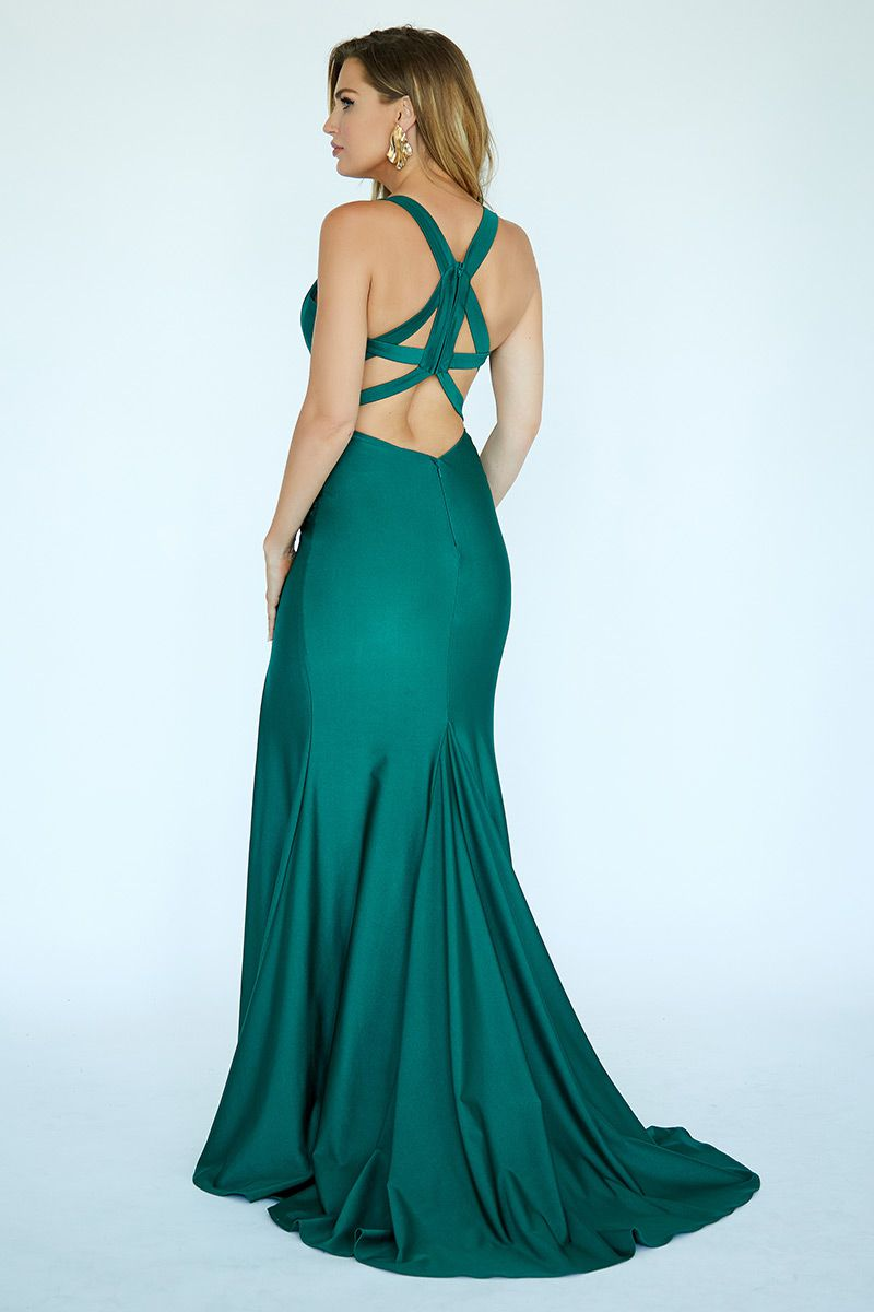 Style E20019 Kimberly's Exclusive Green Size 0 Sorority Formal Pageant Jersey Side slit Dress on Queenly