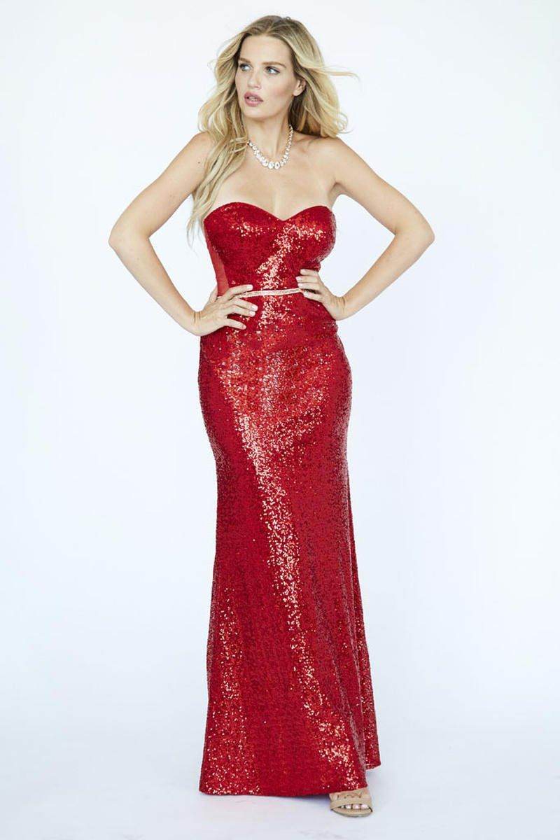 Style E90000 Kimberly's Exclusive Red Size 00 Strapless Pageant Mermaid Dress on Queenly