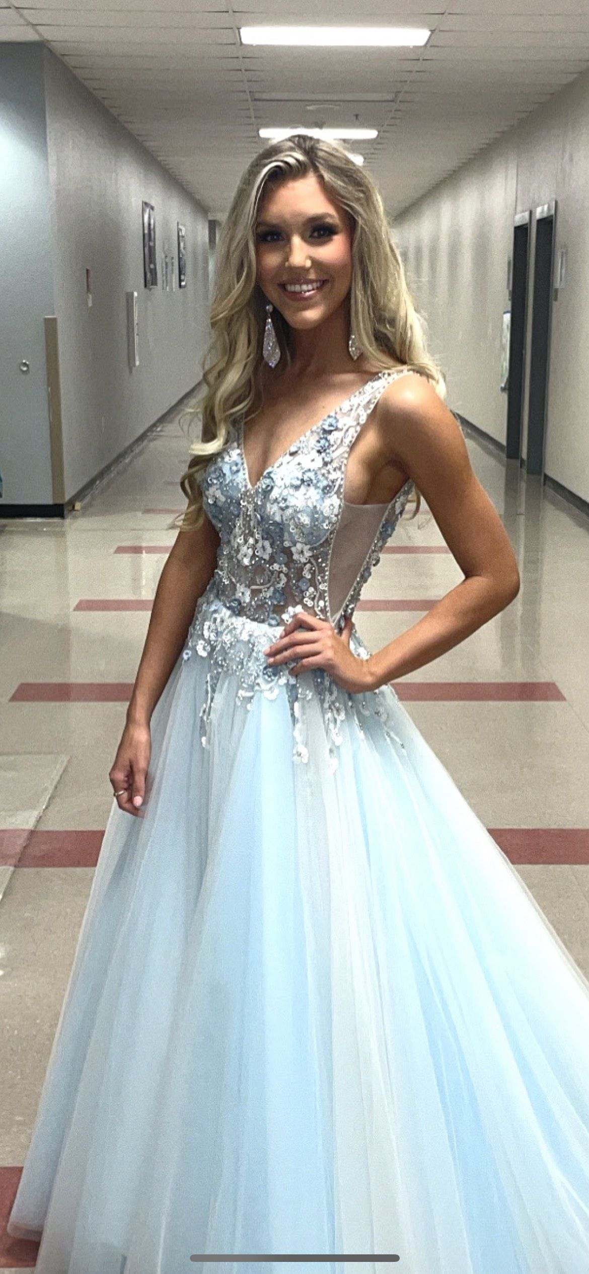 Jovani Blue Size 2 Sheer Pageant Prom Train Dress on Queenly