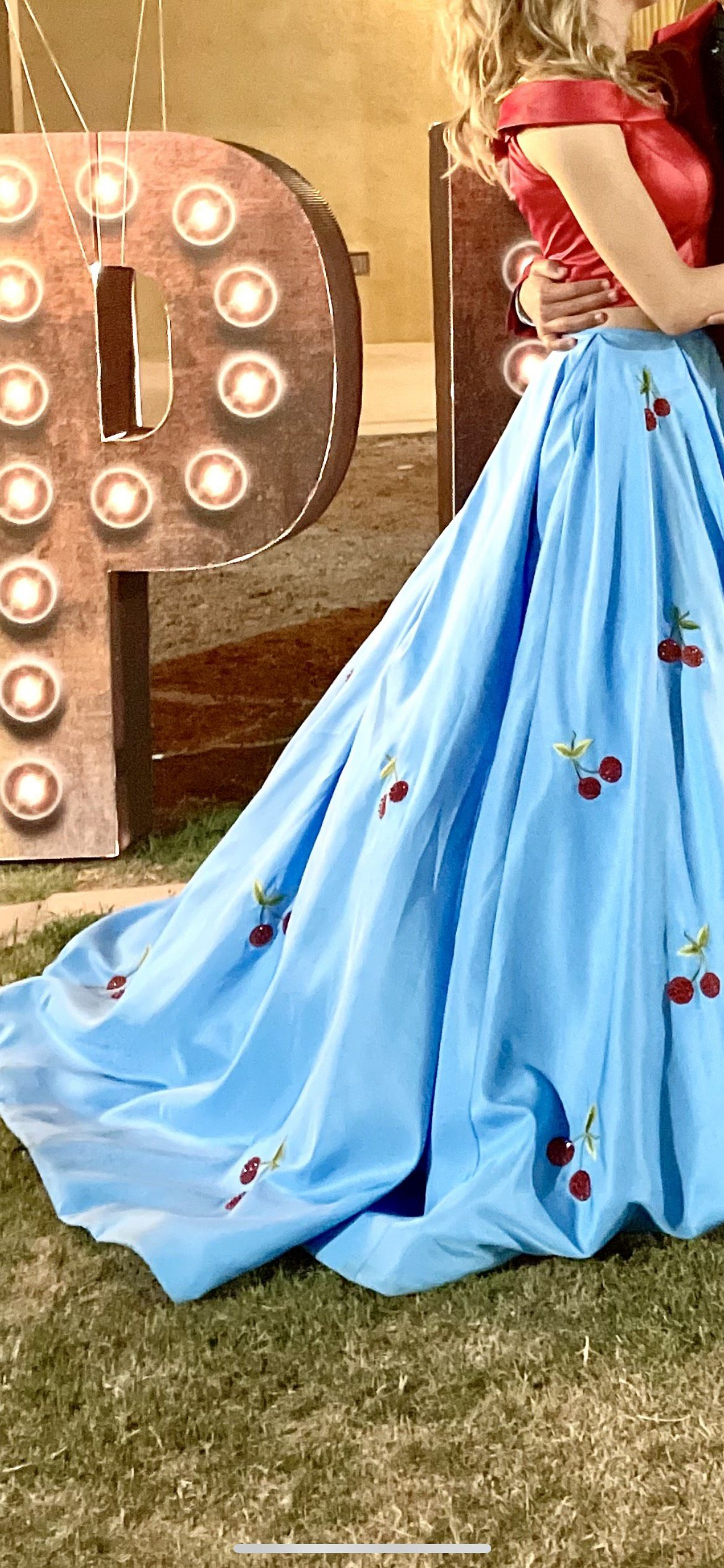Sherri Hill Light Blue Size 2 Two Piece Pockets Train Dress on Queenly