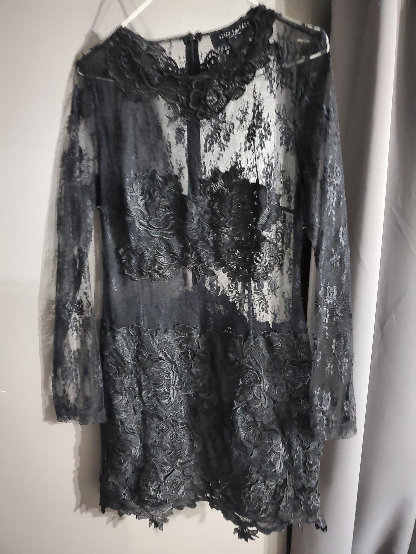 AKIRA Black Size 8 Sheer Nightclub Lace Cocktail Dress on Queenly