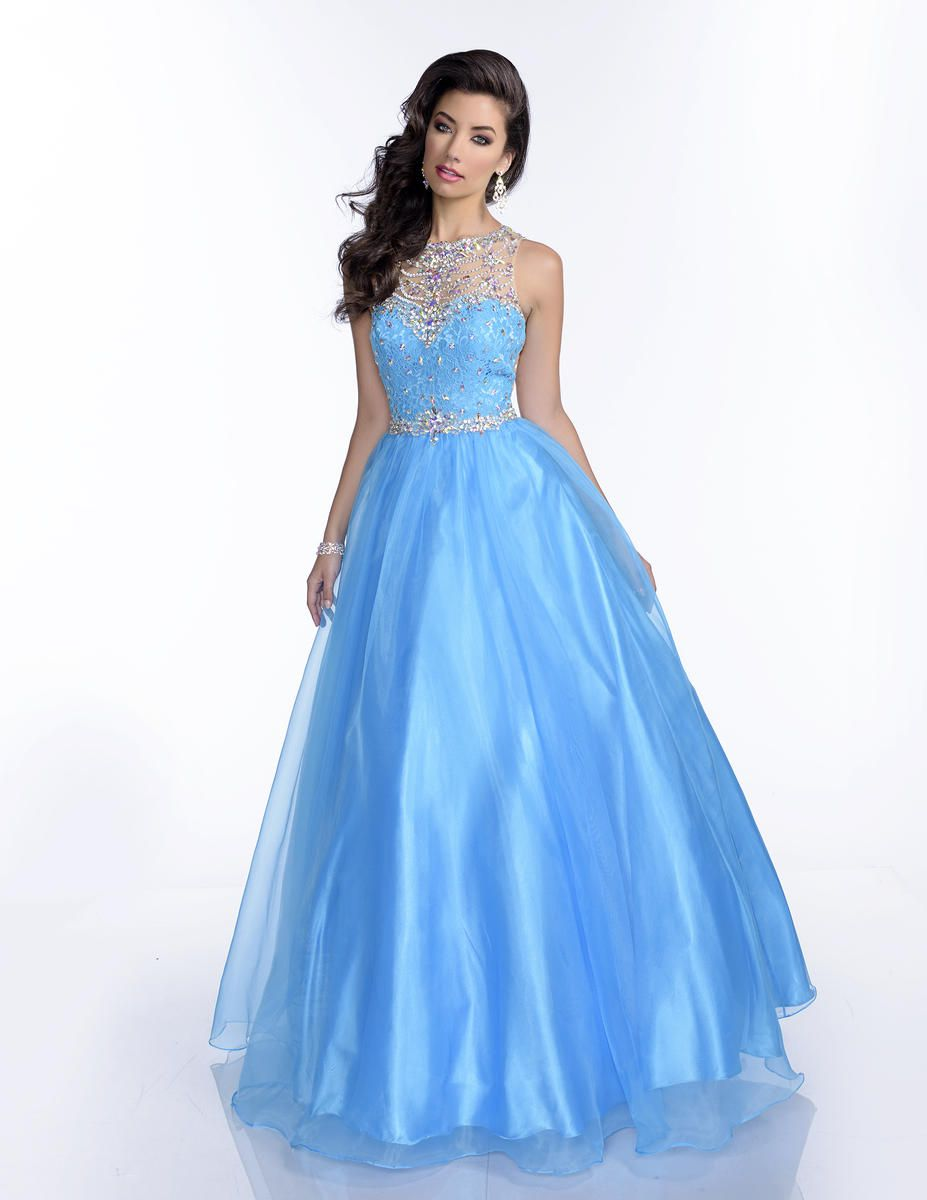 Style 16213 Envious Couture Light Blue Size 4 Sheer Pageant Ball gown on Queenly