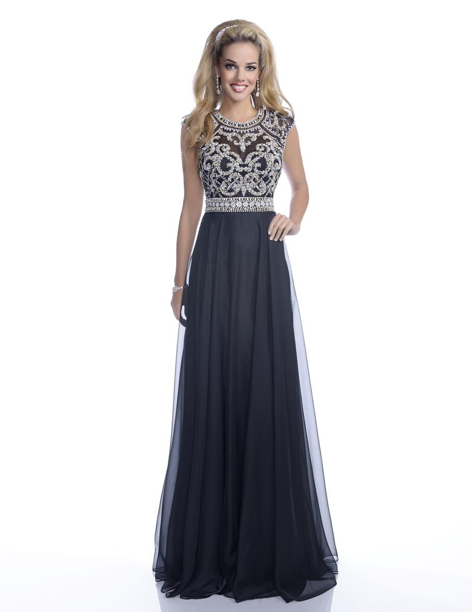 Style 16262 Envious Couture Black Size 18 Sheer Wedding Guest Silk Embroidery Pageant Straight Dress on Queenly