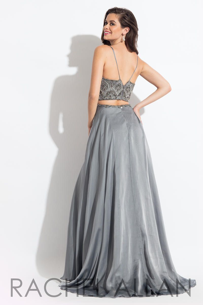 Style 6034 Rachel Allan Silver Size 6 V Neck A-line Dress on Queenly