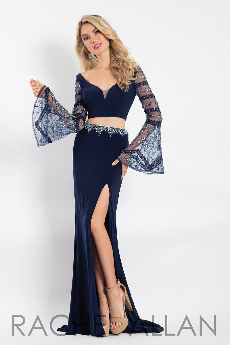 Style 6122 Rachel Allan Blue Size 8 Two Piece Embroidery Jersey Side slit Dress on Queenly