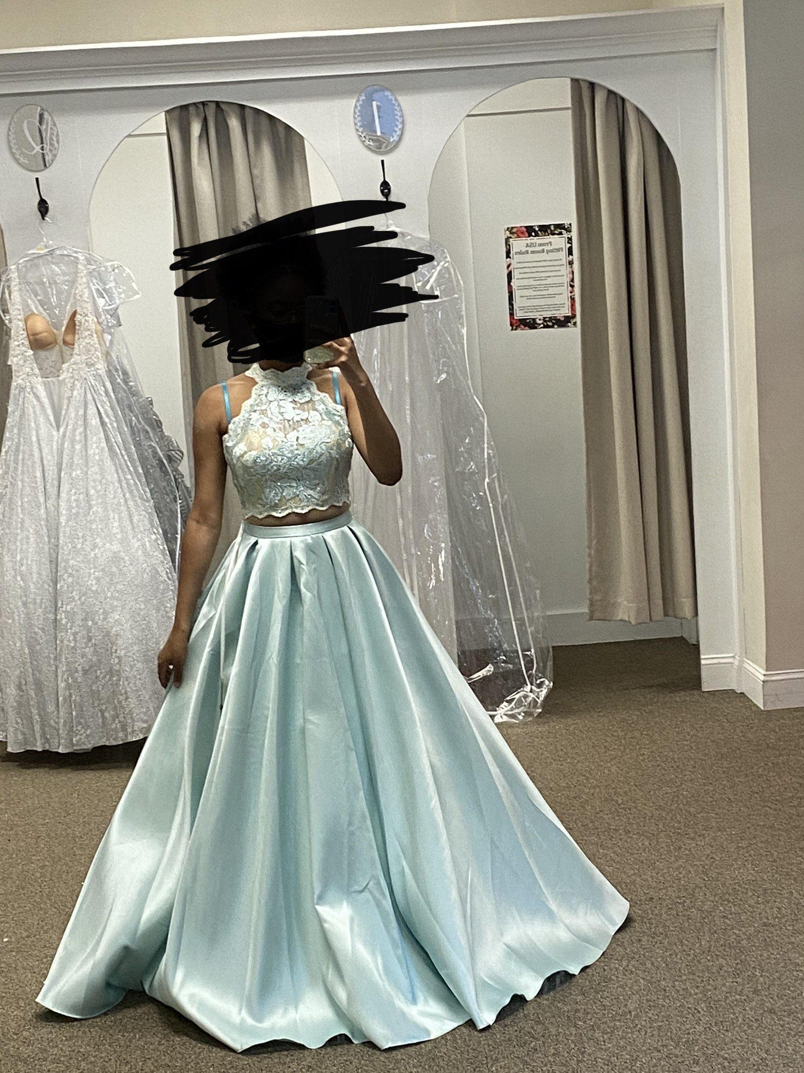 Alyce Paris Light Blue Size 6 Lace High Neck Ball gown on Queenly