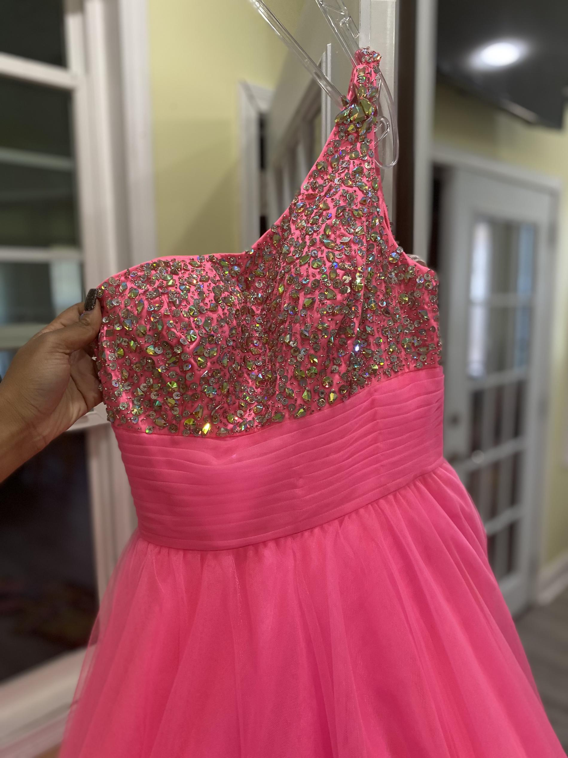 Tiffany Designs Pink Size 6 One Shoulder Tulle Beaded Top Ball gown on Queenly