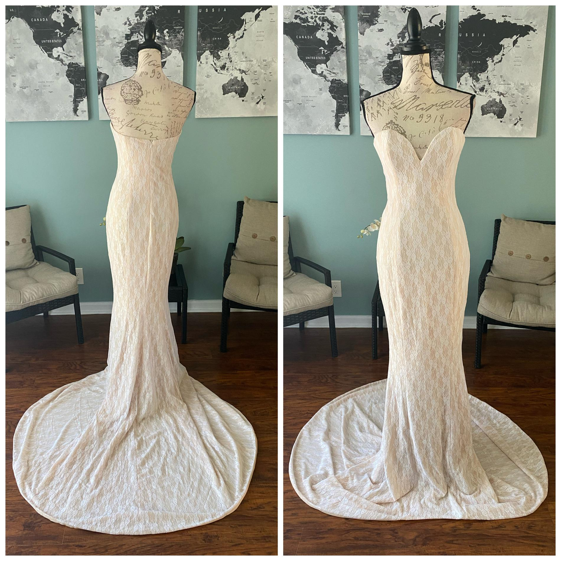 Portia & Scarlett White Size 0 Jersey Wedding Mermaid Dress on Queenly