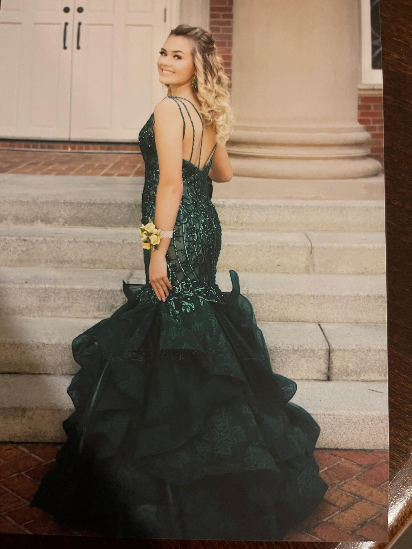 Jasz Couture Green Size 2 Ruffles V Neck Sheer Sequin Mermaid Dress on Queenly