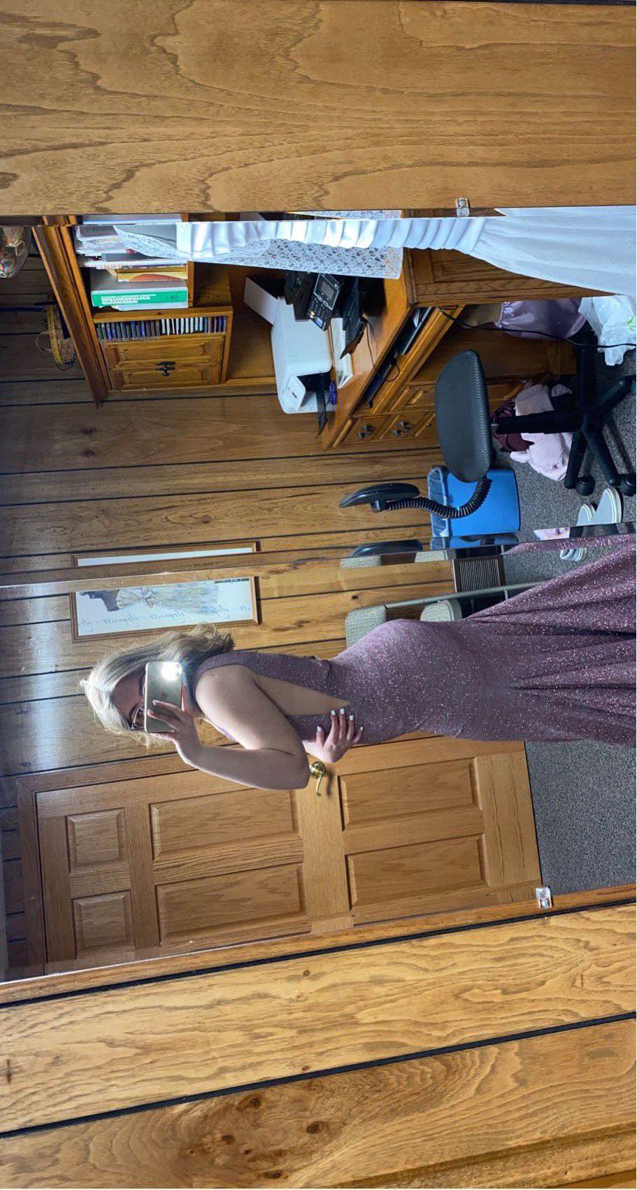 Jovani Light Purple Size 6 Sheer Mermaid Short Height Straight Dress on Queenly
