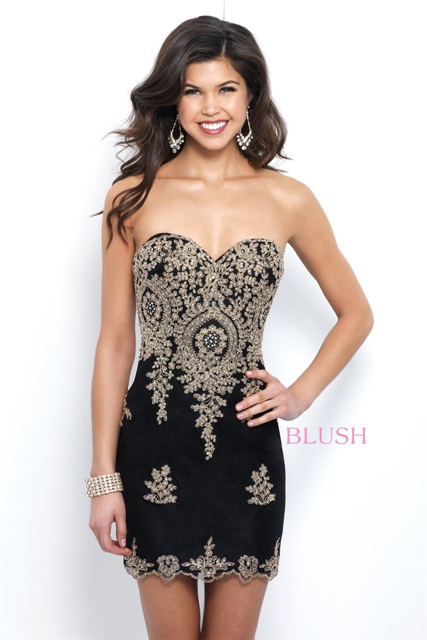 Style C404 Blush Prom  Black Size 6 Mini Jewelled Embroidery Backless Straight Dress on Queenly