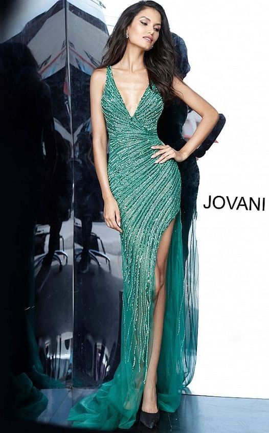 Jovani Green Size 2 Pageant Overskirt Homecoming Side slit Dress on Queenly